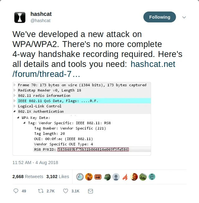 wpa2own - Use hashcat to crack WPA2 PSK (Pre-Shared Key
