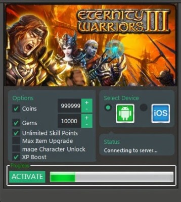 Hack Eternity Warriors 3 Unlimited Coins and Gems iOS and Android