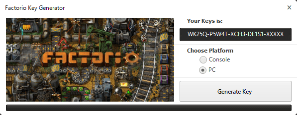 Factorio CD Key Generator