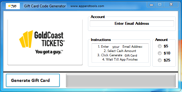 Gold Coast Tickets Gift Card Generator