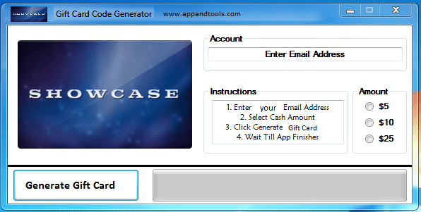 Showcase Cinemas Gift Card Generator