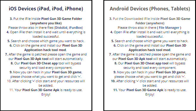 Pixel Gun 3D Hack Cheats APK, iOS Cheats (All Versions)