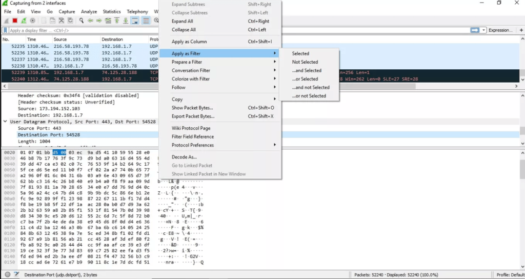 you can apply individual Wireshark filters based on specific details and follow streams of data based on protocol type by right clicking the desired item.