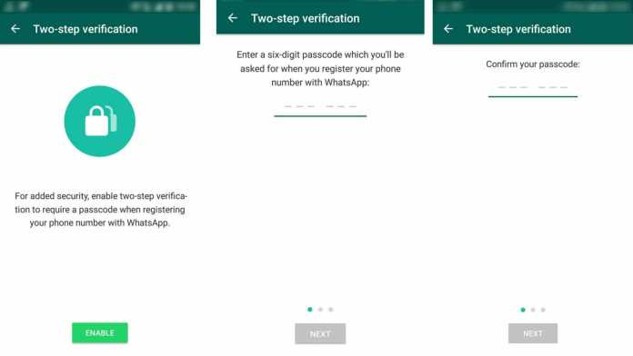 Two step verification password setup