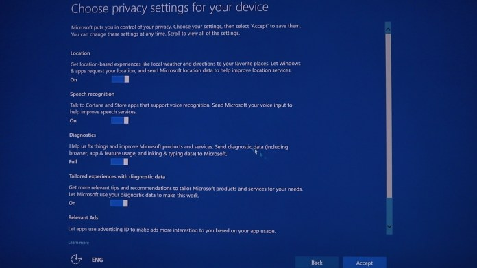 Windows 10 creators update privacy policy