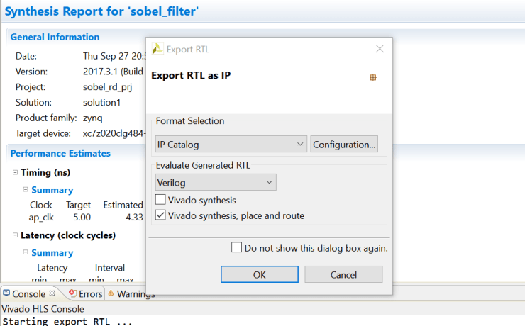 Figure 3: Export to a Vivado project from HLS