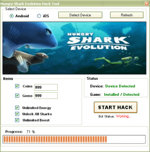 Hungry Shark Evolution Hack Gems Hack and Add Unlimited Coins Hack  Download This is the Hungry Shark Evolution hacks, cheats, tool, trainer which is 100% working on Android and iOS that will give you free unlimited gems, coins, energy, boost, unlock all sharks including mako shark, hammerhead shark, tiger shark, and great white shark, modded apk, cracked ipa, and more. You can utilize the gems and coins generated by Hungry Shark Evolution cheats tool.Hungry Shark Evolution Android and iPhone, iPad, iPod Touch, iOS trainer is easy to use and you can easily add Hungry Shark Evolution gems and coins in your account with just a few clicks of button. This is the answer to the question, how to hack or cheat Hungry Shark Evolution. This hack tool has been designed by using an exploit in the game which will not put your account at risk in Hungry Shark Evolution iOS, Android cheats, hacks and trainer. FEATURES OF HUNGRY SHARK EVOLUTION HACK  Add Unlimited Gems Hack Add Unlimited Coins Hack Unlock All Sharks (Unlock Mako Shark, Hammerhead Shark, Tiger Shark,and Great White Shark.) Enable Infinite Energy Enable Infinite Boost Hungry Shark Evolution Cheats Undetectable (100% Guaranteed) Awesome and accessible user interface. (Just Login, Connect Device &Activate Hack) Works for all Android phones or tablets, and iOS Devices includingiPhone, iPad, iPad Mini, and iPod Touch (Hungry Shark Evolution mustbe installed.) Daily updates version to ensure the functionality of the hack.
