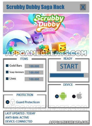 Scrubby Dubby Saga Hack for Gold Bars, Soap Hammers, & Lives