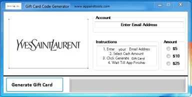 Saint Laurent Gift Card Generator