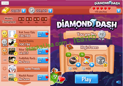 Diamond Dash Hack unlimited lives Add unlimited gold