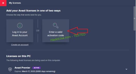 avast premier activation code