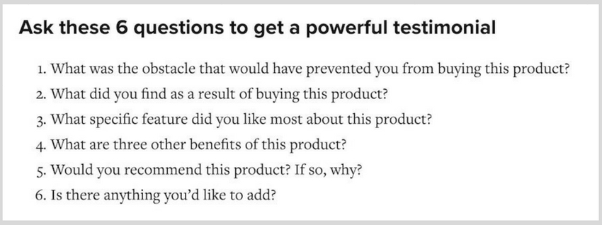 questions to ask get testimonials
