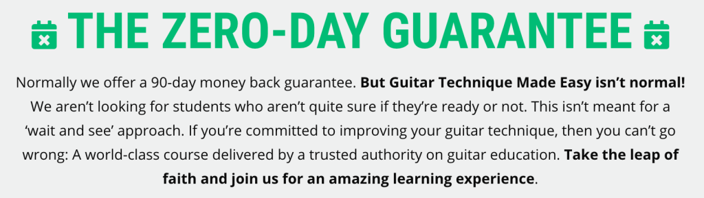 zero day guarantee for guitar course sales page