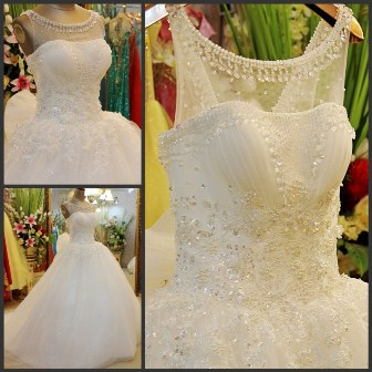 Embroidered ball wedding gown