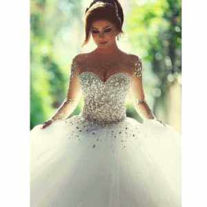 LUXURY BEADED BALL WEDDING GOWN