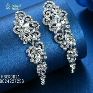 Floral Crystal Dangling Bridal Earrings