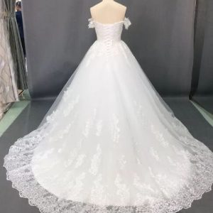 trendy offshoulder ball wedding gown new back