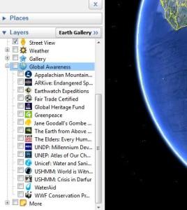 Google Earth global awareness layers
