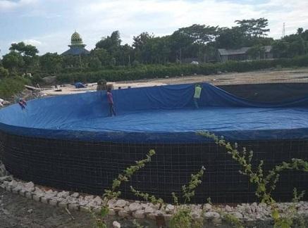 kolam terpal diameter 16 untuk tambak