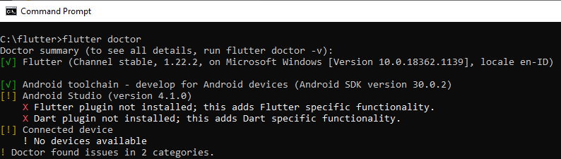 Flutter plugin not installed this adds Flutter spesific functionality