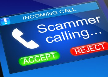 mobile phone screen with scammer calling displayed