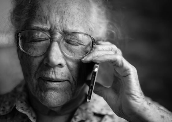 Elderly lady on a telephone