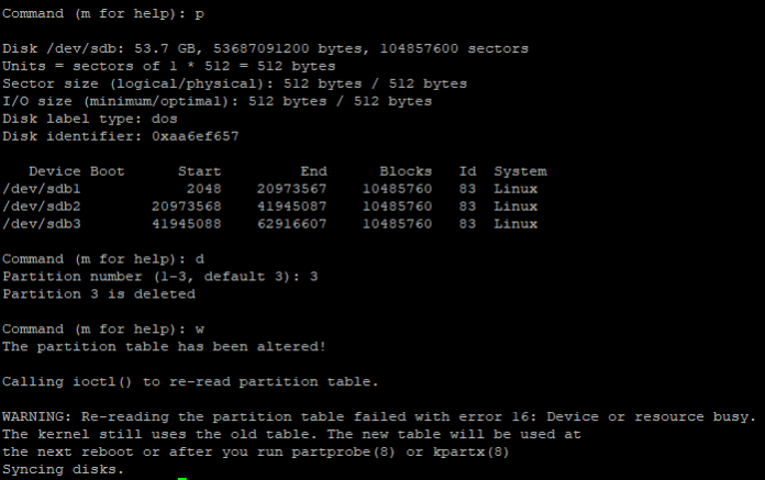 Delete a partition in disk: