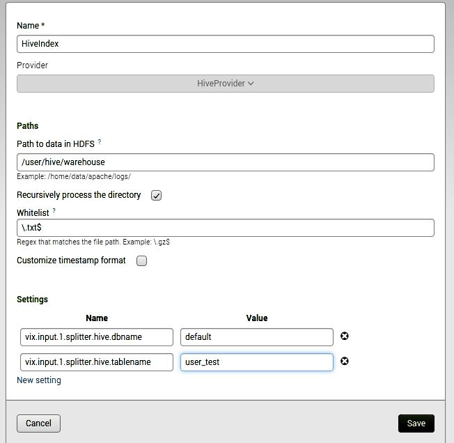 Hive Index Configuration