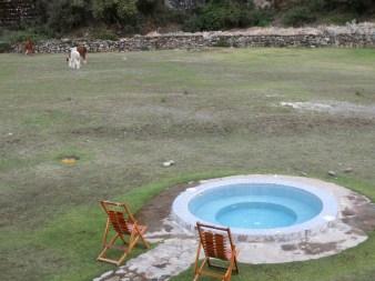 Hot tub next to the mountains