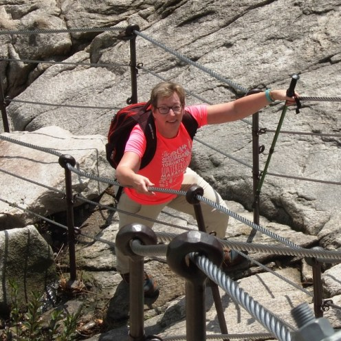 Val climbing a mountain in Korea