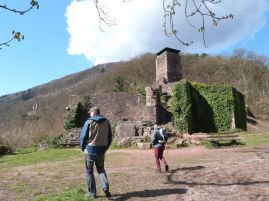 Burg Nr. 3: Ruine Hinterburg, im Huntergrund bereits Burg 4