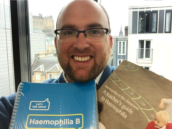 Dan with some of the publications you can order from Haemophilia Scotland.