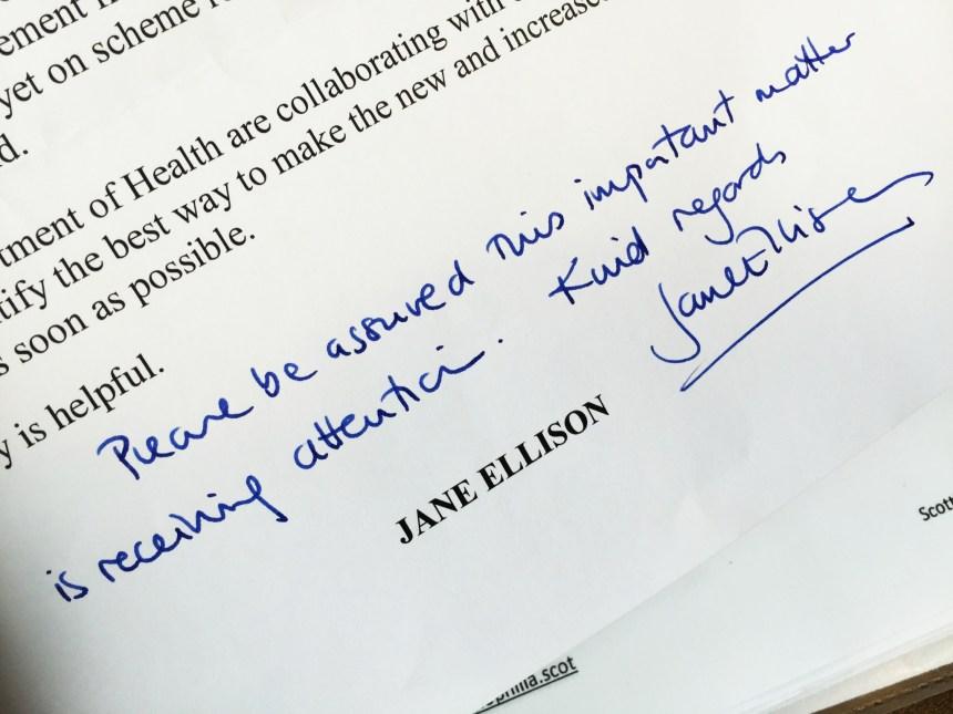 Jane Ellison Letter