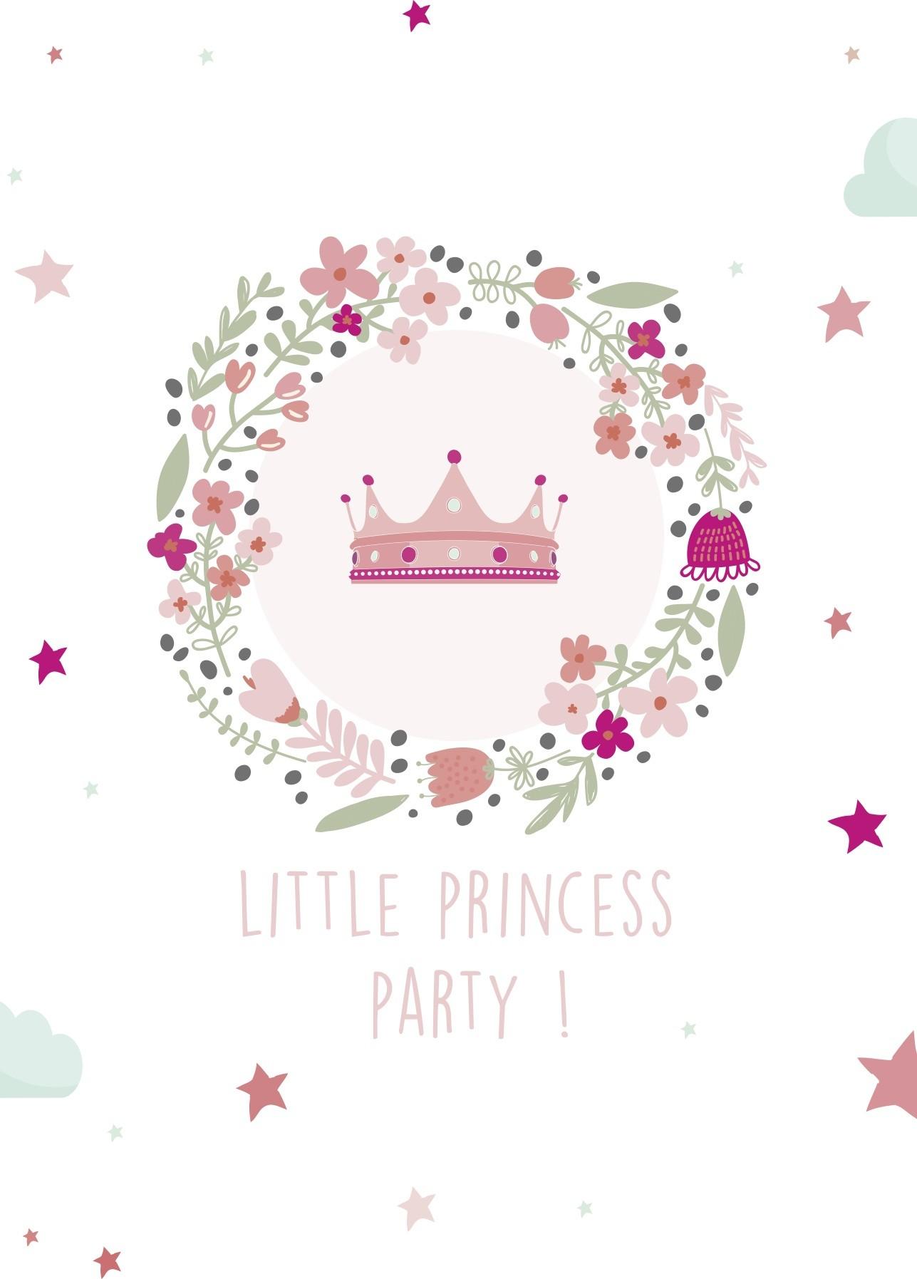8 invitations anniversaire princesse