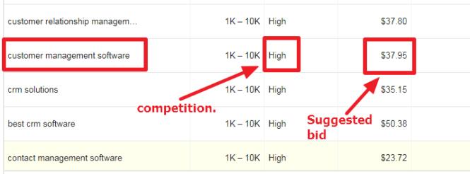 Google Keyword Planner: High Search Volume with High Bid