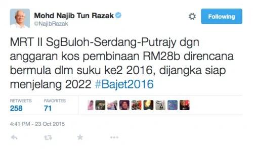 Bajet 2016 - Projek MRT2