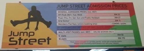 Jump Street Admission prices_harga tiket masuk