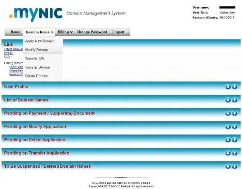 Modify domain nameserver Mynic