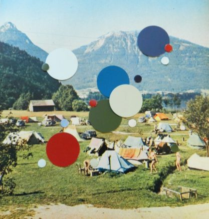 Camping and circles, hand made collage on paper