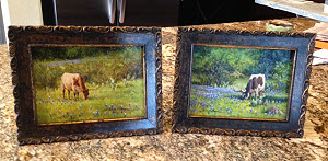 framed small longhorn paintings by William Hagerman copyright 2013
