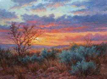 sunset acrylic and oil painting by William Hagerman
