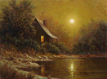 Lakeside Cabin 9x12 oil painting by William Hagerman for eBay auction