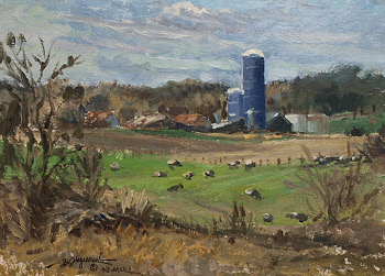 oil sketch of blue silos by William Hagerman copyrighted