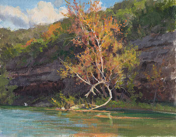 Guadalupe River plein air study by William Hagerman copyright 2013