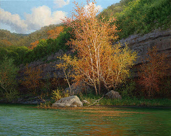 Realistic oil painting along the Guadalupe River by William Hagerman
