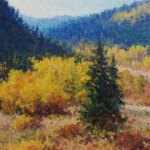 impressionist oil painting of aspen trees and mountains