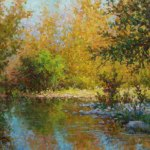Impressionist landscape oil paintin by Byron of water reflections
