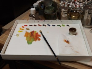some color mixtures for a autumn colored tree on my palette