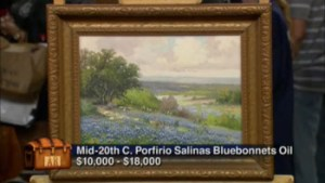 Bluebonnet oil painting by Porfirio Salinas