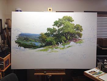 Texas bluebonnet oil painting demo